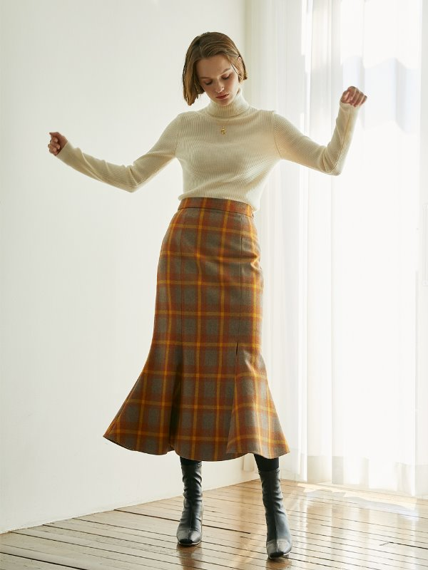Anne Check Mermaid Wool Skirt [Orange Brown]
