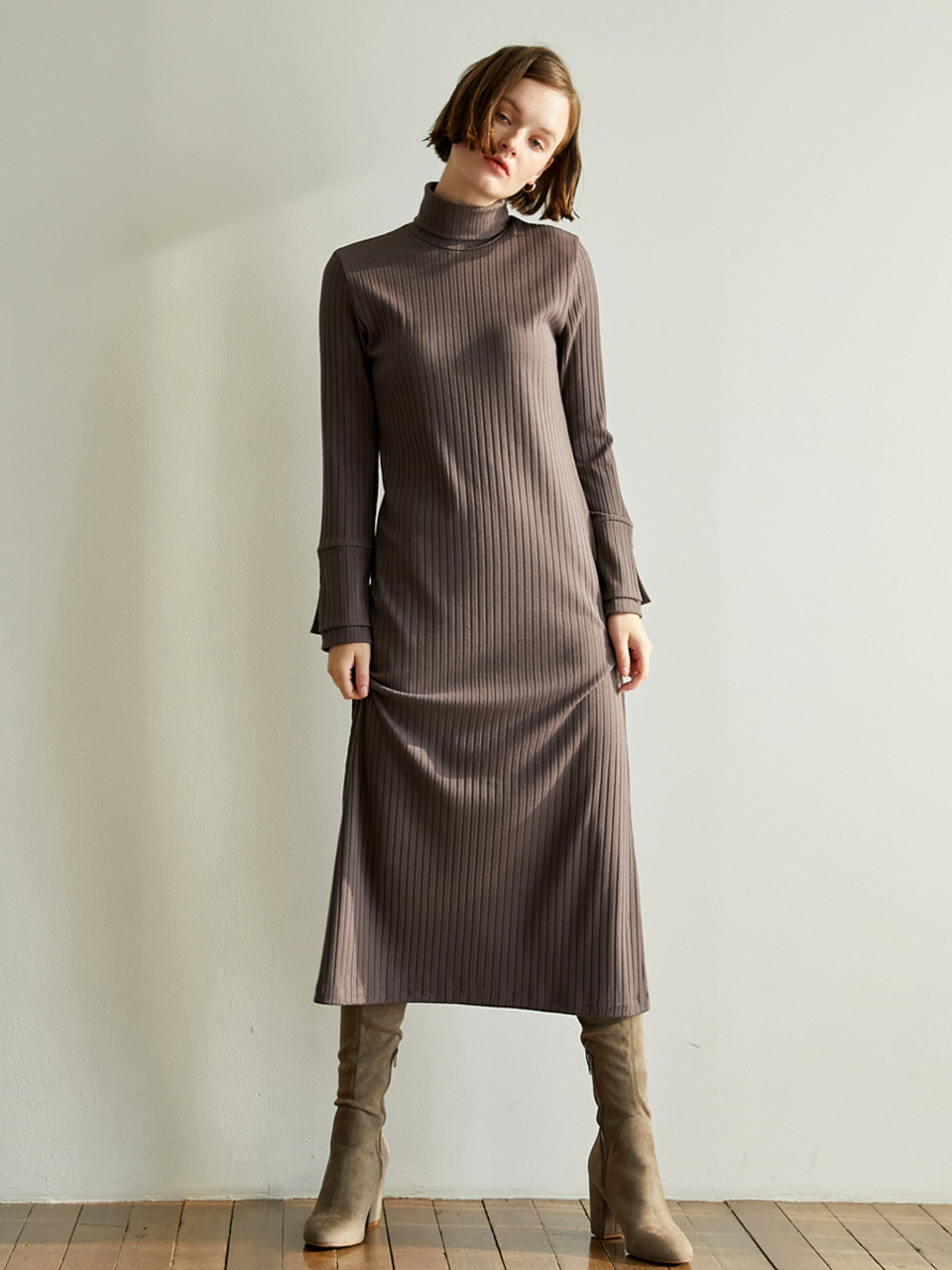 Layered Sleeve Long Dress [Cocoa Brown]
