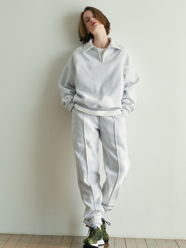 [Spring 시즌 출시][SET 할인] Half Zip Up Sweatshirt + Line Jogger Pants [Light Gray]