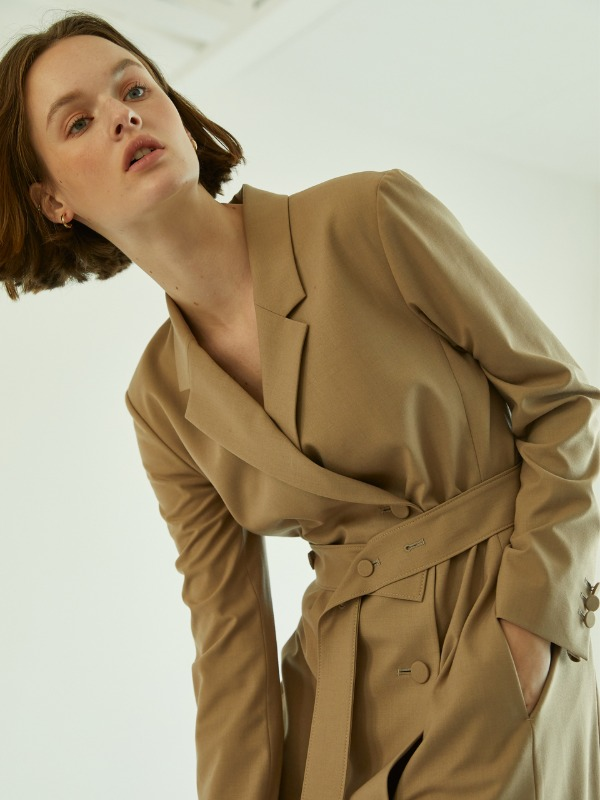 Claire Long Jacket Dress [Beige]