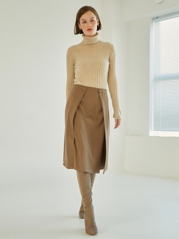 Double Lap Midi Skirt [Khaki Brown]