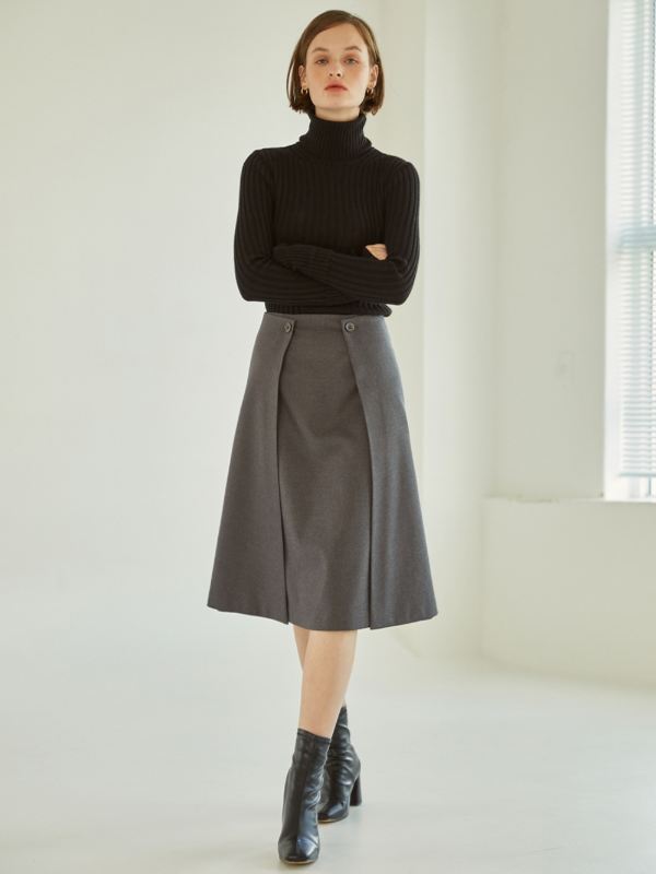 Double Lap Midi Skirt [Gray]