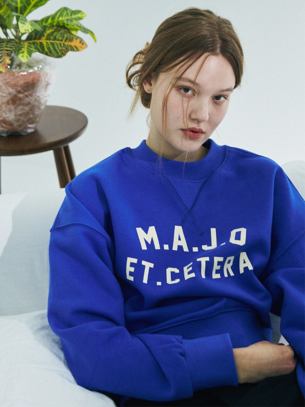Crew Neck Stitch Sweatshirt [Coblat Blue]