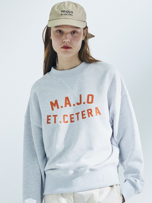 [장도연 착용] Crew Neck Stitch Sweatshirt [Light Grey]