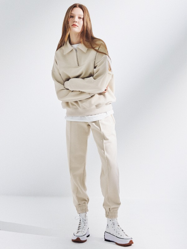 [SET 할인] Half Zip Up Sweatshirt + Line Jogger Pants [Butter Cream]