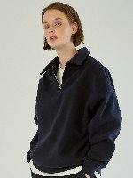 [FW] [기모있음] Half Zip Up Sweatshirt [Navy]